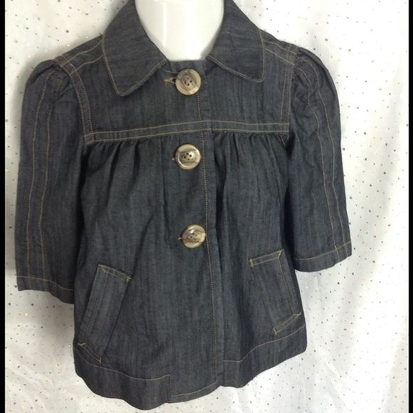 BACCINI Blue Cropped Denim Jacket Small